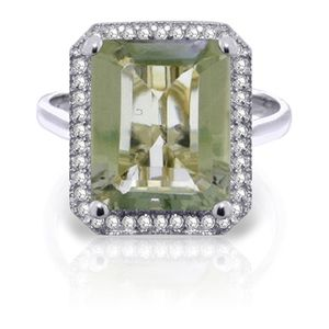 GOLD RING WITH NATURAL DIAMONDS & GREEN AMETHYST